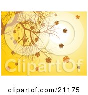 Clipart Illustration Of A Background Of Autumn Leaves Falling From A Bare Tree Branch At Sunset by elaineitalia
