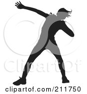 Royalty Free RF Clipart Illustration Of A Black Silhouetted Shotput Female In Profile Preparing To Throw A Ball