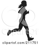 Royalty Free RF Clipart Illustration Of A Healthy Black Silhouetted Track Woman Running by Paulo Resende