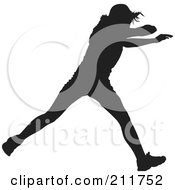 Royalty Free RF Clipart Illustration Of A Black Silhouetted Track Athlete Running by Paulo Resende