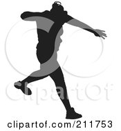 Royalty Free RF Clipart Illustration Of A Black Silhouetted Male Track Athlete Running by Paulo Resende