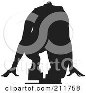 Royalty Free RF Clipart Illustration Of A Black Silhouetted Man Ready To Take Off On The Start Line Of A Track by Paulo Resende