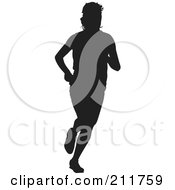 Royalty Free RF Clipart Illustration Of A Black Silhouetted Track Athlete Man Running