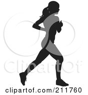 Royalty Free RF Clipart Illustration Of A Healthy Black Silhouetted Woman Running