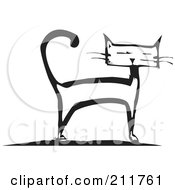 Royalty Free RF Clipart Illustration Of A Black And White Wood Cut Styled Cat Standing