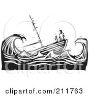 Royalty Free RF Clipart Illustration Of A Black And White Woodcut Scene Of People At The Tip Of A Sinking Ship