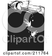 Royalty Free RF Clipart Illustration Of A Black And White Wood Carved Scene Of People Drowning Near A Ship At Sea