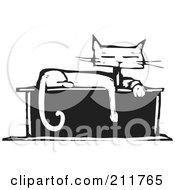 Royalty Free RF Clipart Illustration Of A Black And White Wood Cut Styled Cat Sitting On A Box