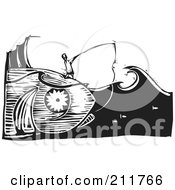 Royalty Free RF Clipart Illustration Of A Black And White Woodcut Scene Of A Man Fishing And Catching The Giant Fish That Hes On