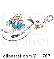 Royalty Free RF Clipart Illustration Of A Toon Guy Kicking A Soccer Ball Hard by gnurf