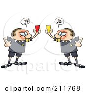 Angry Soccer Referee Toon Guys Holding Up Yellow And Red Penalty Cards At Each Other