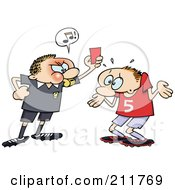 Royalty Free RF Clipart Illustration Of An Angry Referee Toon Guy Holding Up A Red Penalty Card At A Shrugging Soccer Player by gnurf