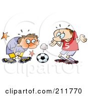 Royalty Free RF Clipart Illustration Of A Toon Guy Grabbing Himself After Being Hit In A Sensitive Spot With A Soccer Ball by gnurf #COLLC211770-0050