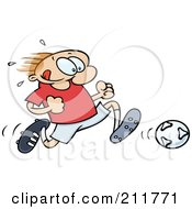 Royalty Free RF Clipart Illustration Of A Toon Guy Sweating And Running After A Soccer Ball by gnurf