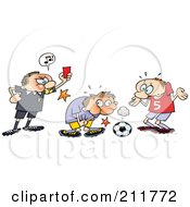 Royalty Free RF Clipart Illustration Of A Mad Ref Holding Up A Card While A Toon Guy Grabs Himself After Being Hit In A Sensitive Spot With A Soccer Ball by gnurf #COLLC211772-0050
