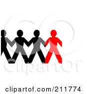 Royalty Free RF Clipart Illustration Of A Row Of Connected Black And Red Paper People