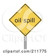 Royalty Free RF Clipart Illustration Of A Yellow Oil Spill Warning Sign