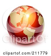 Royalty Free RF Clipart Illustration Of A 3d Shiny Red And Gold Globe Featuring America