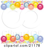 Purple Blue Green Orange Pink And Yellow Flowers On The Top And Bottom Of A White Background by elaineitalia
