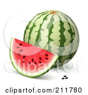 Royalty Free RF Clipart Illustration Of A 3d Watermelon Slice And Seeds