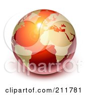 3d Shiny Red And Gold Globe Featuring Europe by Oligo