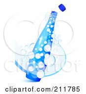 Royalty Free RF Clipart Illustration Of A 3d Blue Bottle With Sparkly Fizz Bubbles by Oligo