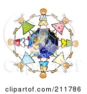 Royalty Free RF Clipart Illustration Of A Circle Of Doodled Children Holding Hands Around A Soccer Earth by MacX