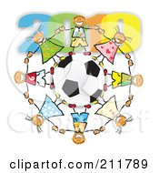Circle Of Doodled Children Holding Hands Around A Soccer Ball Under 2010