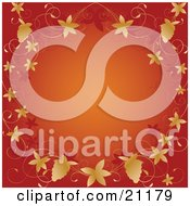 Clipart Illustration Of An Orange Background Bordered By Autumn Grapevines And Grapes