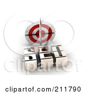 Royalty Free RF Clipart Illustration Of A 3d SEO And Target by MacX