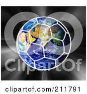 Royalty Free RF Clipart Illustration Of A Globe With A Soccer Ball Pattern Over It On A Zooming Background by MacX