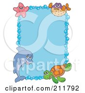 Royalty Free RF Clipart Illustration Of A Dolphin Starfish Fish And Sea Turtle Border Around Blue