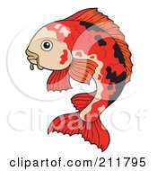 Royalty Free RF Clipart Illustration Of A Black And Red Koi Fish