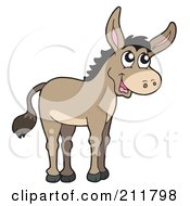 Royalty Free RF Clipart Illustration Of A Cute Donkey by visekart