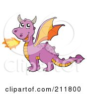 Royalty Free RF Clipart Illustration Of A Purple Fire Breathing Dragon With Orange Wings by visekart