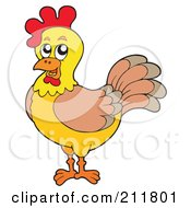 Royalty Free RF Clipart Illustration Of A Yellow Rooster by visekart
