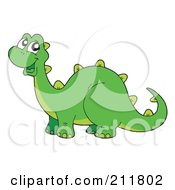 Royalty Free RF Clipart Illustration Of A Happy Green Dinosaur Smiling by visekart