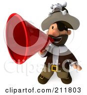 Royalty Free RF Clipart Illustration Of A 3d Young Pirate Facing Front And Announcing Through A Megaphone by Julos