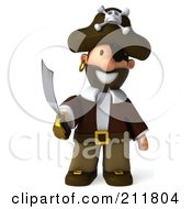 Royalty Free RF Clipart Illustration Of A 3d Young Pirate Facing Front With A Curved Sword by Julos