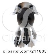 3d Jack Russell Terrier Pooch Businessman Looking Up