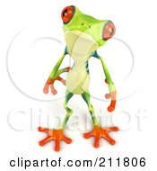 Royalty Free RF Clipart Illustration Of A 3d Argie Frog Looking Up by Julos