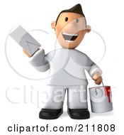Royalty Free RF Clipart Illustration Of A 3d Toon Guy House Painter Holding Mail 1
