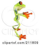 Royalty Free RF Clipart Illustration Of A 3d Argie Frog Pointing Both Hands Right by Julos