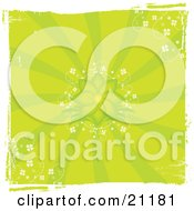 Clipart Illustration Of A Green Retro Grunge Floral Background With A Blooming Flower And Delicate White Flowers In The Corners
