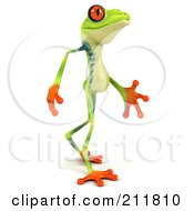 Royalty Free RF Clipart Illustration Of A 3d Argie Frog Walking Right by Julos