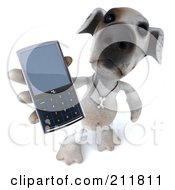 Royalty Free RF Clipart Illustration Of A 3d Jack Russell Terrier Pooch Using A Smart Phone 3