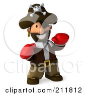 Royalty Free RF Clipart Illustration Of A 3d Young Pirate Boxing With Red Gloves 1 by Julos