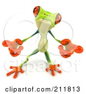 Royalty Free RF Clipart Illustration Of A 3d Argie Frog Pointing Both Hands Out by Julos
