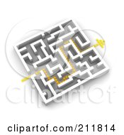 3d Dotted Arrow Path Through A Maze