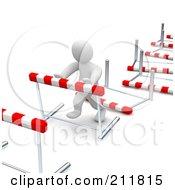 Royalty Free RF Clipart Illustration Of A 3d Blanco Man Knocking Down Hurdles by Jiri Moucka #COLLC211815-0122